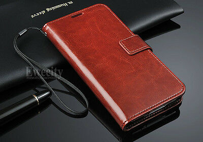 Luxury Flip Leather Wallet Stand Case Cover Wrist Strap For Samsung Galaxy S5 SV