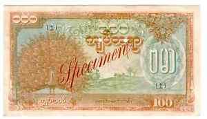 BURMA-MYANMAR-100-KYATS-1944-SPECIMEN-AUNC-P-21-S1