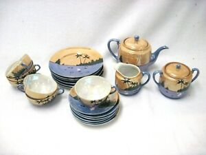 Details about VINTAGE HAND PAINTED TAKITO TT JAPAN LUSTERWARE 23 PC TEA SET  PALM TREES SWANS