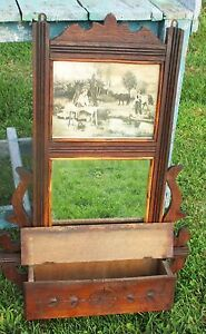 Antique-French-Wall-Cabinet-Beveled-Glass-mirror-Carved-Wood-Picture-Stunning