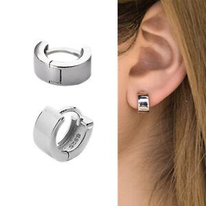 925-Sterling-Silver-Plain-10x4-5mm-Small-Cuff-Hoop-Huggie-Helix-Earrings-Unisex
