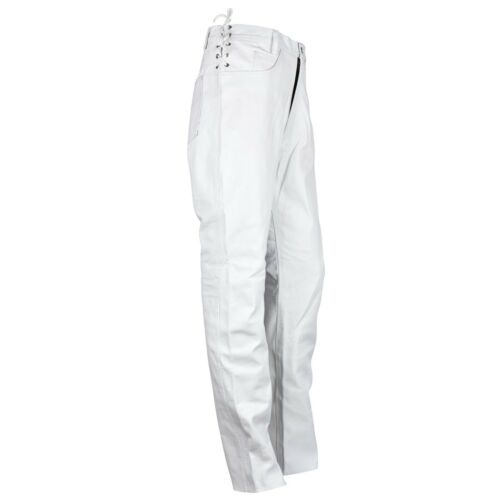 Mens Short Laces Genuine Leather Jean Style White Pant Waist Size 44/'/' waist