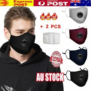 Anti-Air-Pollution-Face-Mask-Respirator-amp-2-Filters-P2-Washable-Adjustable-AU