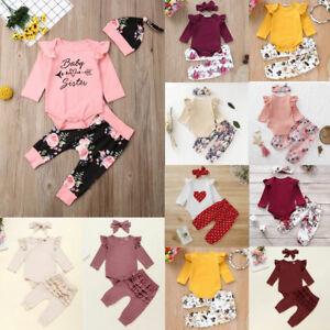 3Pcs-Newborn-Babys-Girls-Ruffle-Romper-Jumpsuit-Tops-Floral-Pants-Headband-Sets