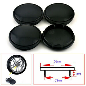 High-Quality-4Pcs-Car-Wheel-Center-Hub-Caps-Decorative-Cover-58mm-53mm-Black-ABS