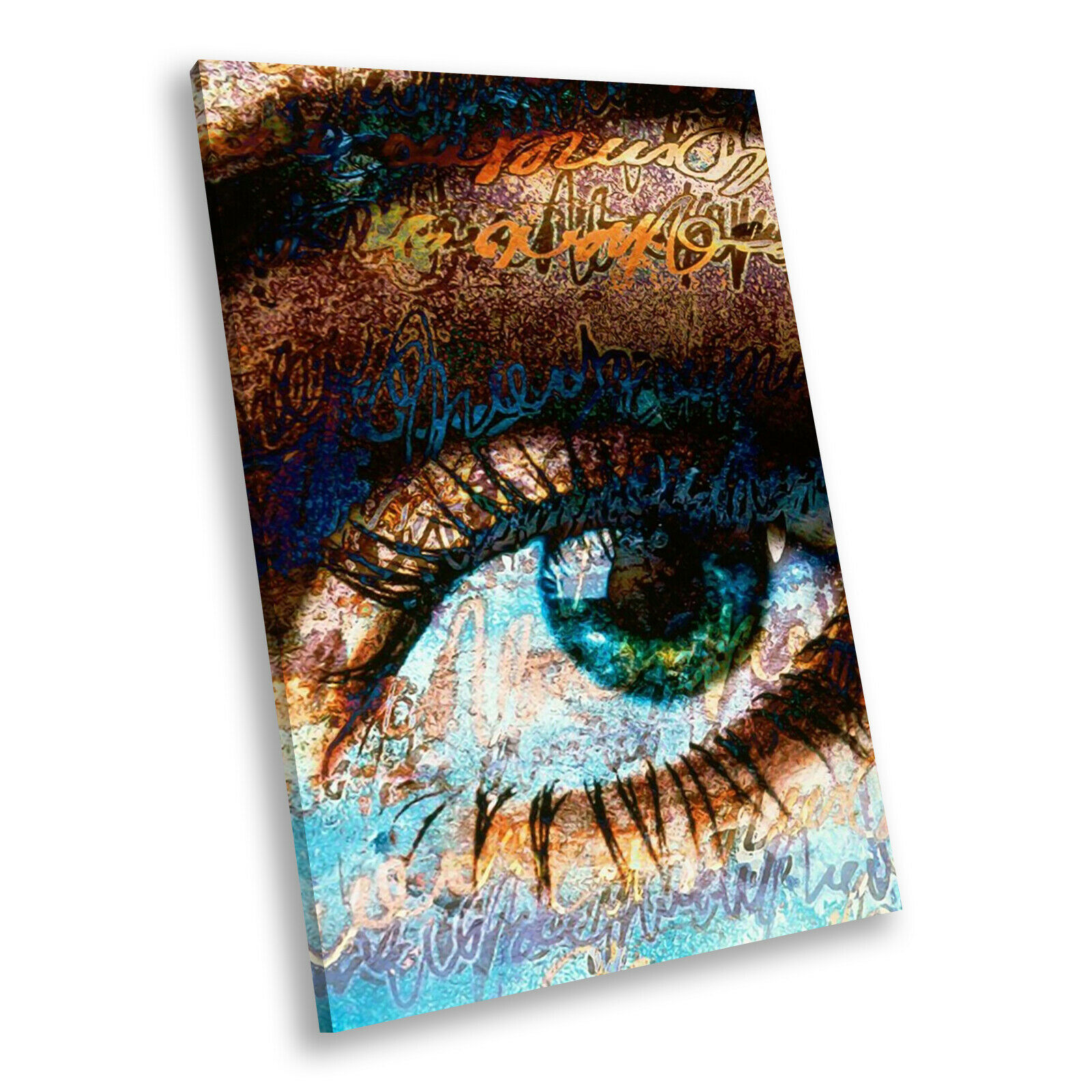 Blau braun Eye Rustic Portrait Abstract Canvas Wand Kunst Large Bild Druckens