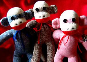 "Handmade Rockford Red Heel 18"" Kia Sock Monkey Customizable Pink Blue or Brown"