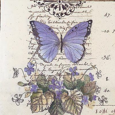 2 single paper napkins Decoupage Collection Vintage Text Butterfly butterflies