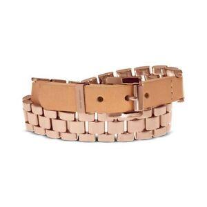 Women-039-s-MKJ1940791-Rose-Gold-Tone-Watch-Link-Double-Wrap-Leather-Bracelet-195