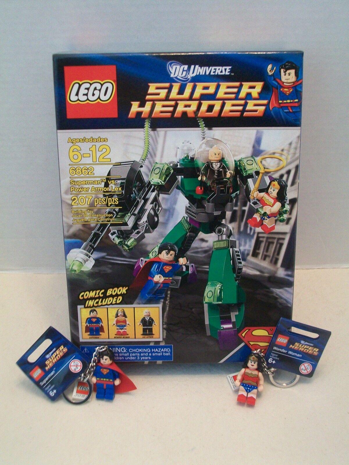 Lego #6862 Superman vs. Power Armor Lex + 2 Key Chains DC Universe NIB 2012!