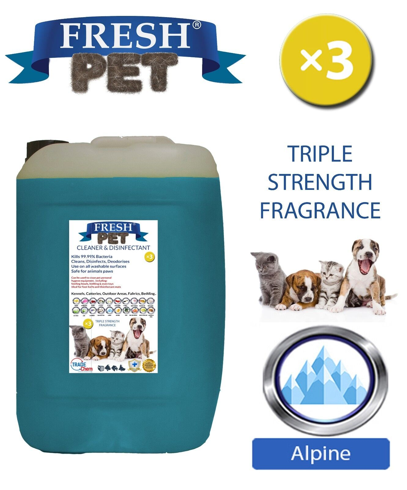Fresh Pet Kennel Dog DISINFETTANTE Tripla Forza fragranza 20 L Alpine