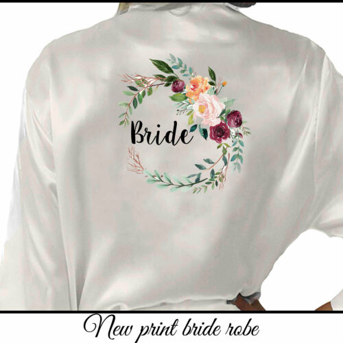 Floral Satin Wedding Party Bride Robe Bridesmaid Mother Groom Dressing Gown