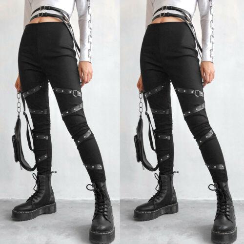 Women Solid Gothic Punk Casual Elastic Trousers Rivet Splice Long Pants Leggings