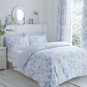 Floral Toile Stripe Blue White King Size Duvet Cover