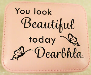 Details About Personalised Pink Faux Leather Jewellery Box Elegant Mirror Portable