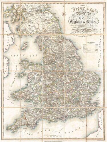 1830 PIGOT POCKET MAP ENGLAND WALES VINTAGE POSTER ART PICTURE 2884PYLV