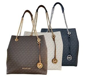8e5660e7adf29b Image is loading Michael-Kors-Jet-Set-Chain-Large-Shoulder-Tote-
