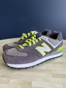 New Balance 574 womens size 6.5 Gray and Lime Green Tennis Shoe   eBay