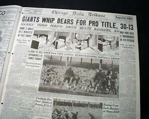 034-SNEAKERS-GAME-034-New-York-Giants-NFL-Football-CHAMPS-Chicago-Bears-1934-Newspaper