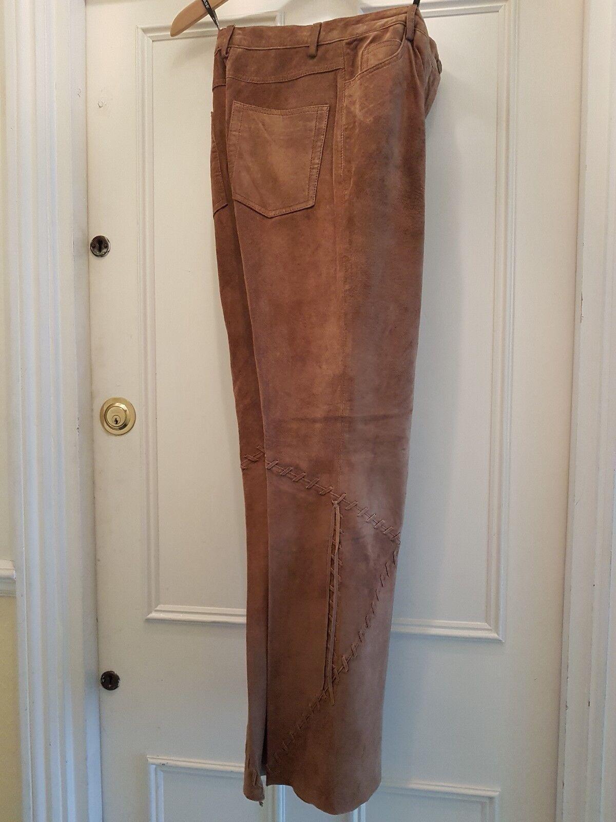 Tan-colore camoscio morbido Pelle di Agnello-Pantaloni Jeans Taglia 36