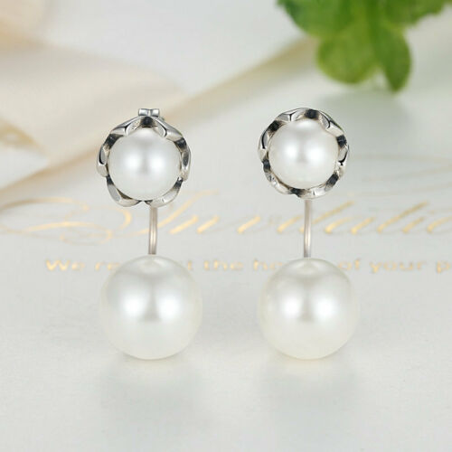 Freshwater Cultured Double White Pearl 925 Sterling Silver Stud Dangle Earring