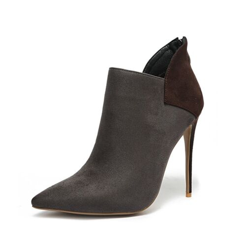 Details about  /Women/'s Suede Ankle Boots High Heels Colorblock Stiletto Pointed Toe Party Shoes