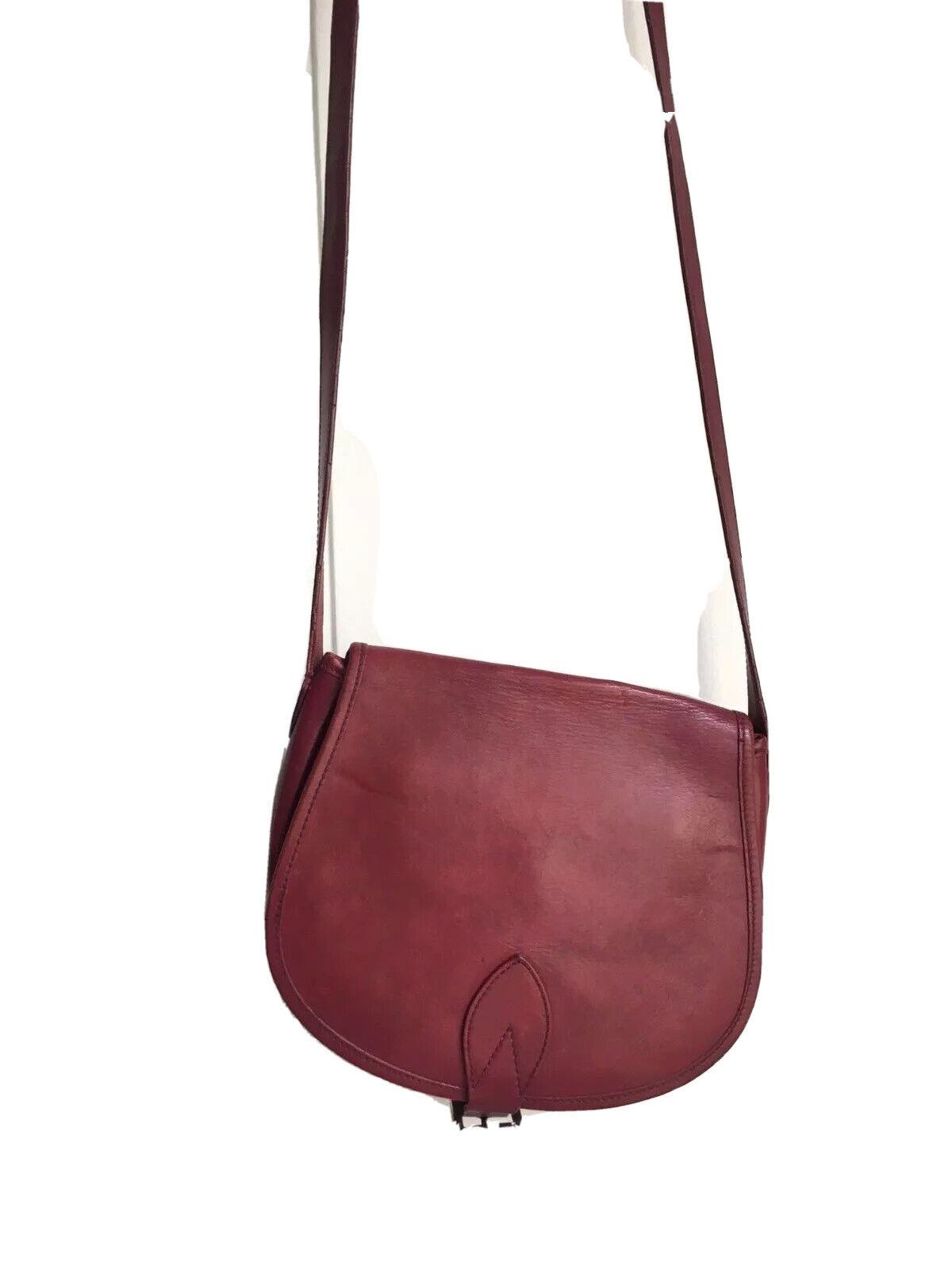 A.P.C Burgundy Red Leather Shoulder Bag - Half mo… - image 1
