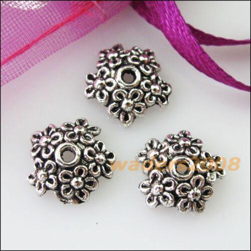 30 nouveaux connecteurs Fleur Star Tibetan Silver End Bead Caps 11 mm