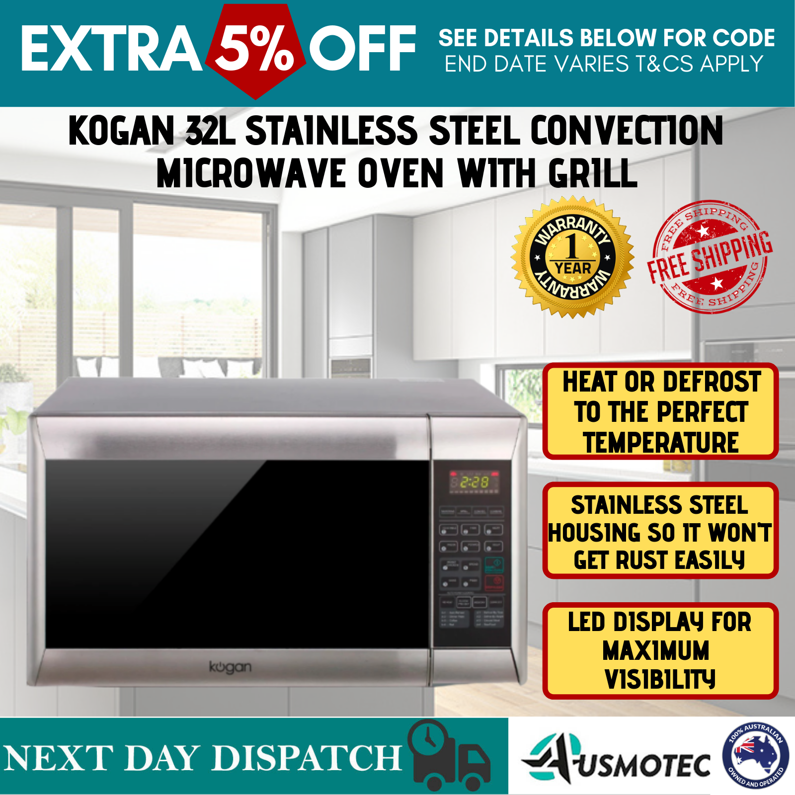 32l Stainless Steel Convection Microwave Oven With Grill: Kogan 32L Stainless Steel Convection Microwave Oven With