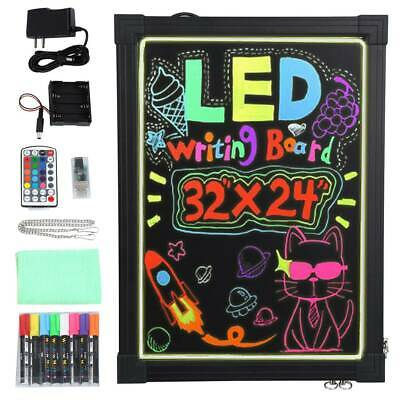 24 x 16 Illuminated Erasable Neon Effect Restaurant Menu Sign with 8 Colors Markers Hosim LED Message Writing Board 7 Colors Flashing Mode DIY Message Chalkboard for Kitchen Wedding Promotions