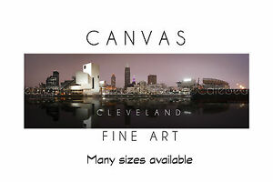 Wall Art Canvas Print CLEVELAND Skyline Panoramic Poster Size ...
