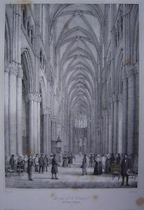 Lithographie-de-l-039-interieur-de-la-Cathedrale-Notre-Dame-de-REIMS-c1840