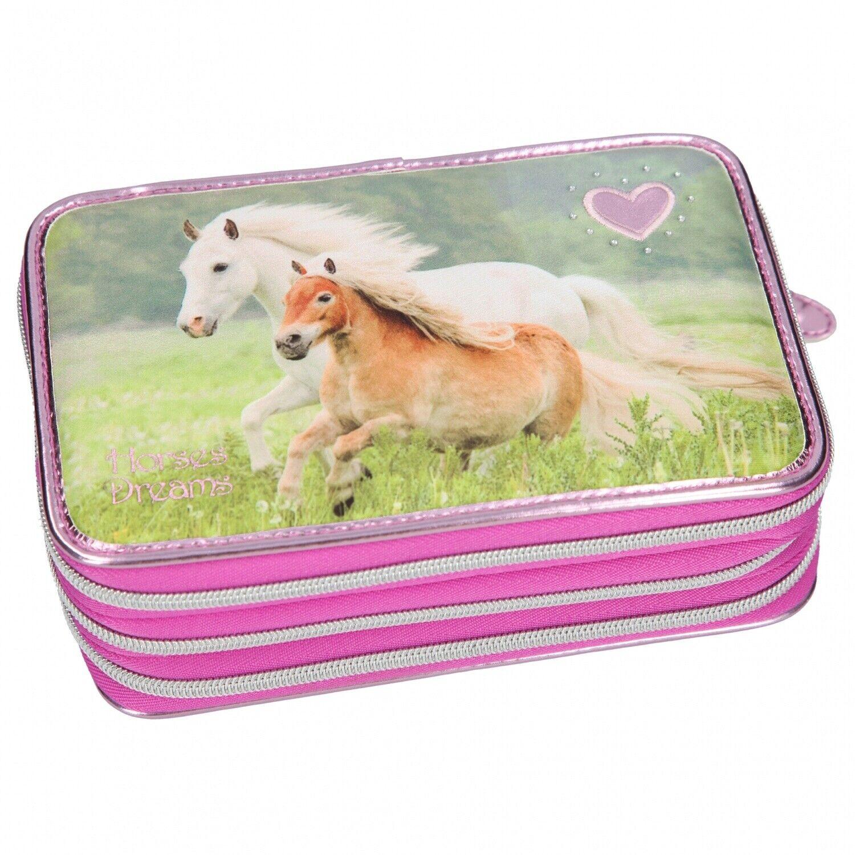 Horses Dreams 3-fach Federtasche Pferde Rosa-lila Depesche 10532 gefüllt | Up-to-date Styling  | Günstigstes  | Nutzen Sie Materialien voll aus