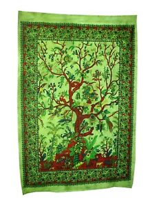 Green Tree Of Life Wall Hanging Poster Tapestry Boho Hippy