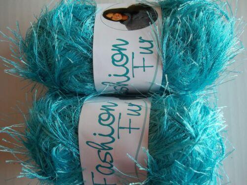 Oxford Fashion Fur eyelash yarn Ocean Blue 65 yds each turquoise lot of 2