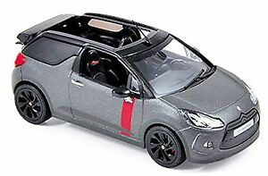 Spielzeugautos Citroen DS3 Cabrio Rennsport 2014 matt grau Norev 155295 Maßstab 1:43