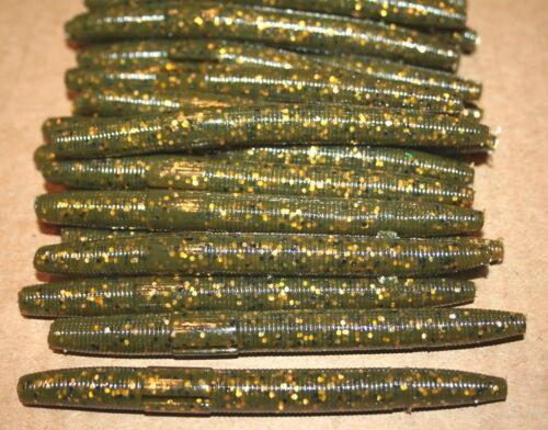 """50 bag 4/"""" Stick Senko Style Green Pumpkin Copper Flake Bulk Bass Worm"""