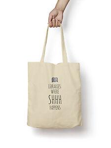 Libraries-SHHH-Happens-Tote-Bag-5oz-Premium-Quality-Natural-Cotton-Shopper-Eco