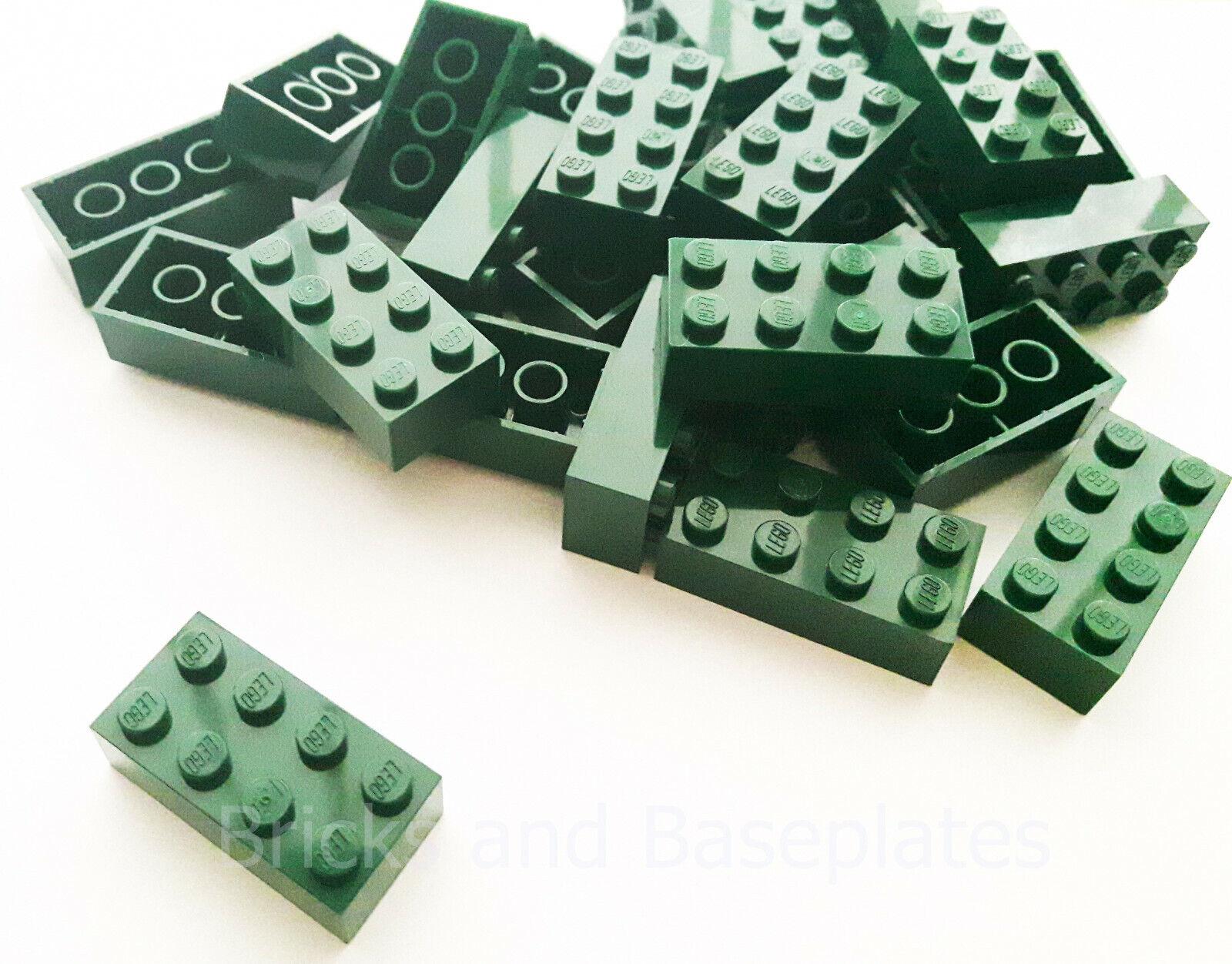 Briques Lego 200 x vert foncé 2x4 PIN NEUF envoyé dans une Claire scellé sac