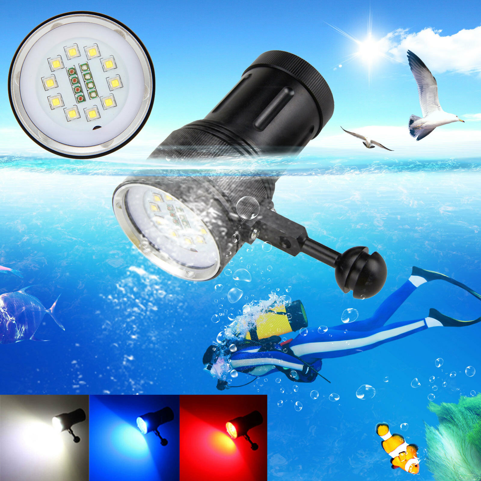 Photography Video 12000LM 12000LM 12000LM 10x XM-L2+4xRot+4xBlau LED Tauche Tauchlampe bis 100m 43df29