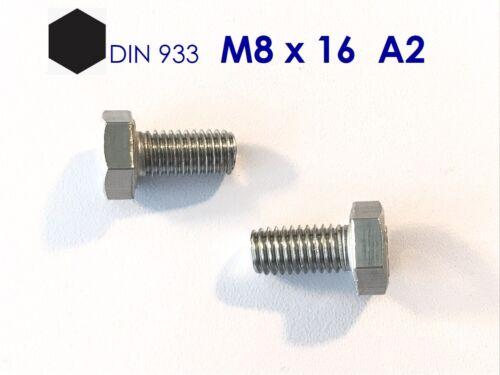 10 Stück Sechskantschraube M8x16 Edelstahl A2