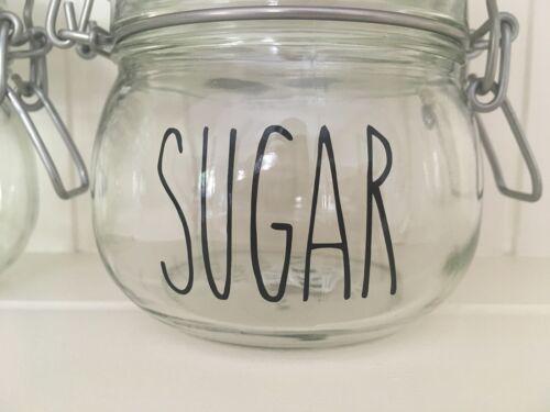 RAE Dunn style skinny police thé café sucre Vinyl Decal Stickers-À faire soi-même Jar étiquettes