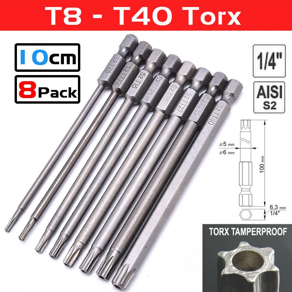 XT AUTO 12pcs 1//4 Inch Hex Shank T5-T40 Torx Head Screw Driver Bit Set Security