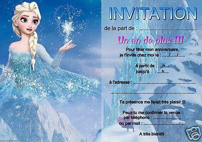 5 ou 12 cartes invitation anniversaire REINE DES NEIGES réf 06   eBay