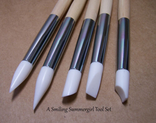 5 Clay Sculpting Tools Assorted Silicone Nibs PMC Polymer Ceramics /& Nail Art