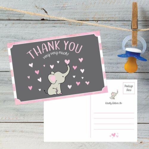 50 Elephant Girl Baby Shower Thank You Postcards