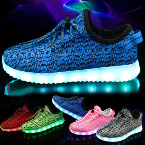 UK Kid Boys Girls Light Up Shoes LED Flashing Trainers Casual Sneakers plus size