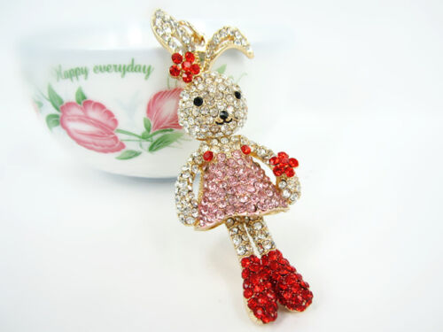 KC011 Rabbit Keyring Cute Rhinestone Crystal Charm Pendant Key Bag Chain Gift
