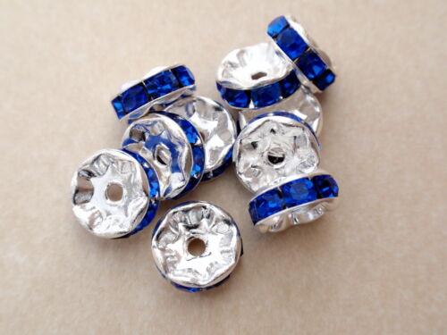 8 8mm Czech Glass Rhinestone Rondelle:Silver Sapphire
