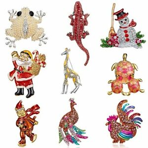 Christmas-Rhinestone-Snowman-Frog-Animal-Brooch-Pin-Corsage-Jewelry-Xmas-Gift